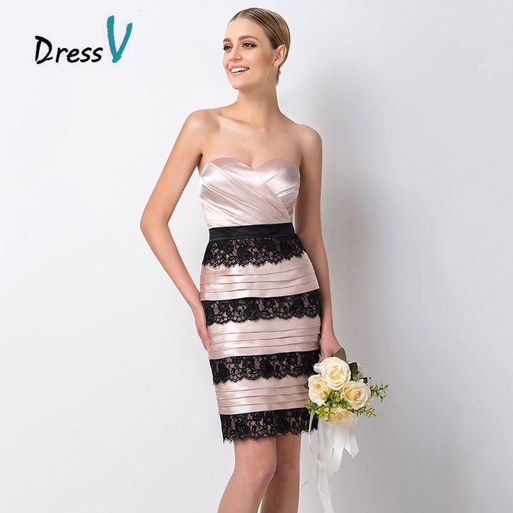 Купить 2016 новинки модные короткие розовые бандо вечерние платья для подруги невесты на свадьбу дизайнерские с черными кружевами и плиссировкамии другие товары категории Платья подружек невестыв магазине DressvнаAliExpress. платье серия и одеваться баклажан
