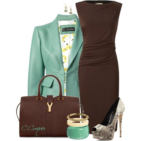 Chic Brown & Green by ccroquer on Polyvore featuring Planet, Giuseppe Zanotti, Yves Saint Laurent, Nali and Burberry