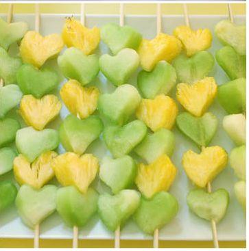 fruit heart skewers, yellow and green dessert