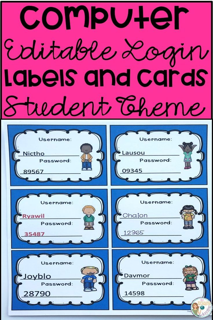 Computer Login Labels And Cards Student Theme Websites For Students Elementary Resources Student