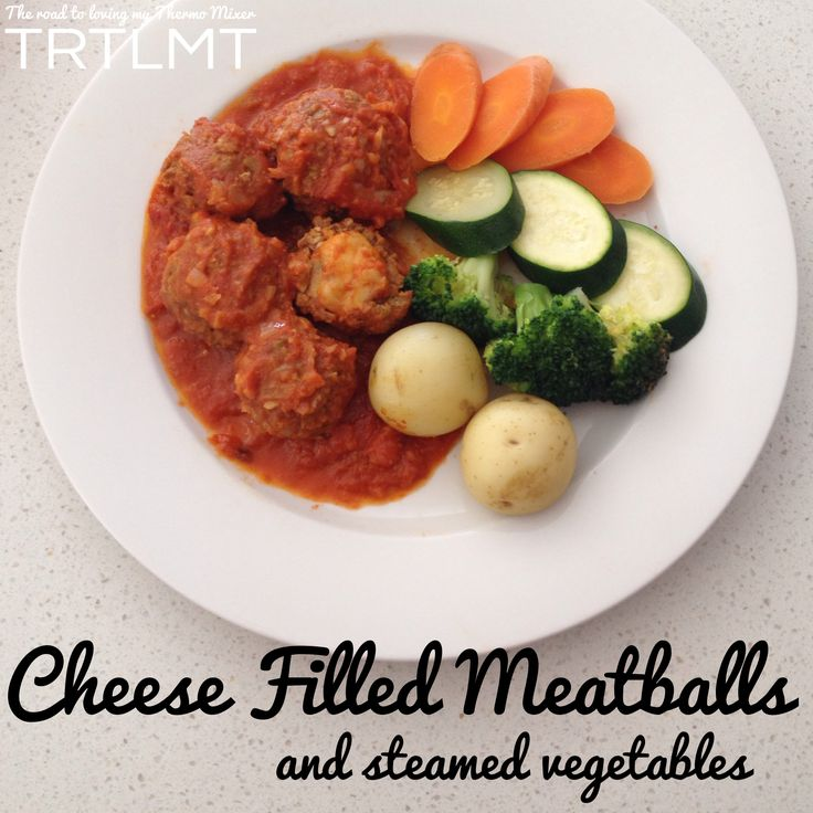Cheese Filled Meatballs with Steamed Vegetables