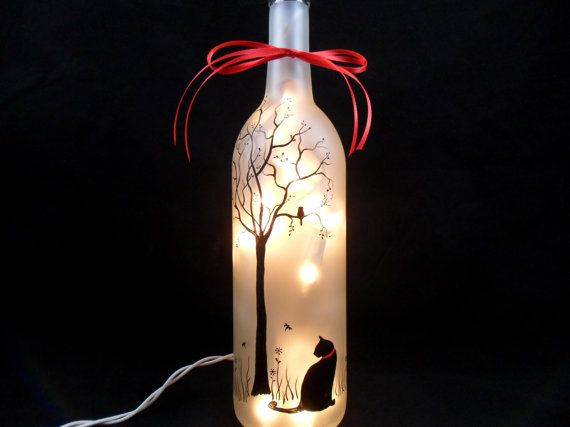Lighted Wine Bottle Black Cat Hand Painted by PaintingByElaine