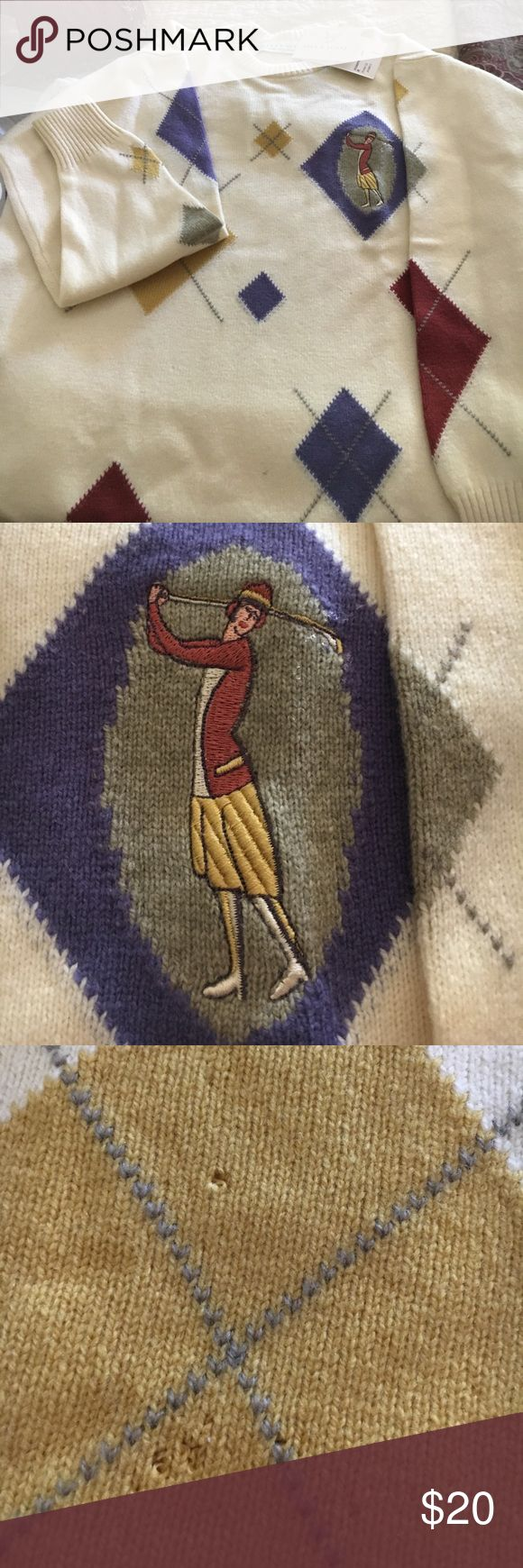 Vintage cashmere golf sweater Ivory with golf motif. Has two tiny moth holes (see picture) Very cute. Still has tags! Lyle & Scott Sweaters Crew & Scoop Necks
