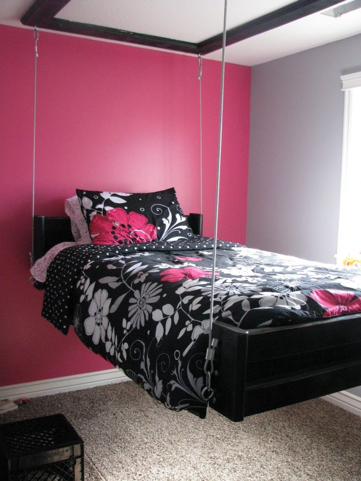 Furniture, Cute Pink White Bedroom Colors With Black Floral Swinging Bed  Near Window Design:
