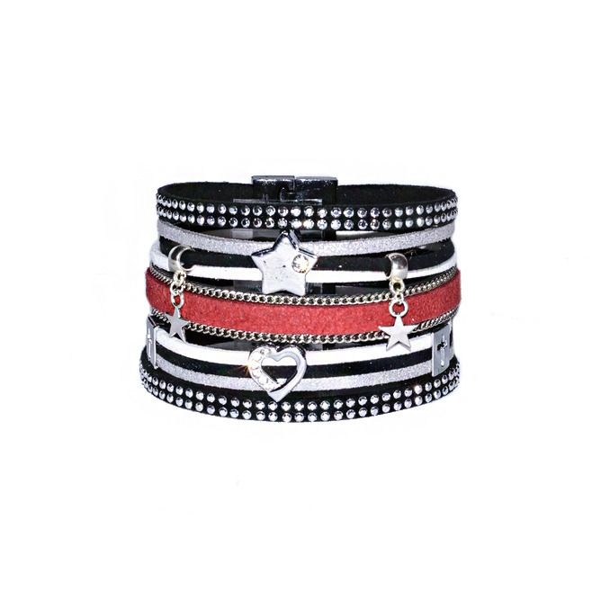 Bracelet manchette cuir rouge blanc noir gris fermoir magnétique noir : Bracelet par les-bijoux-de-petiteauguai