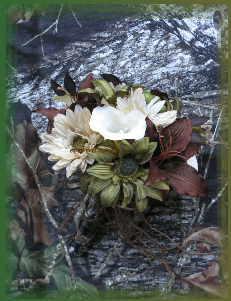 Mossy+Oak+Break+Up+Wedding+Bouquet+Set+by+BridalBouquets+on+Etsy,+$253.00