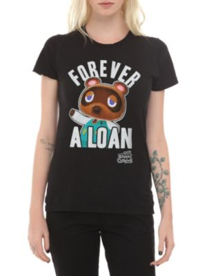 Nintendo Animal Crossing: New Leaf Forever A Loan Girls T-Shirt(I BET TOM NOOK EVEN OWNS THE SHIRT!!!!!)