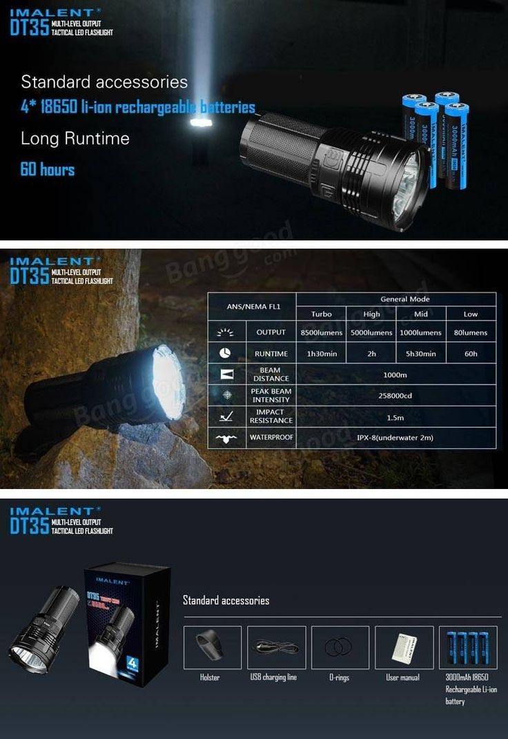 IMALENT DT35 XHP35 HI 8500LM 18650 USB Rechargeable LED Flashlight