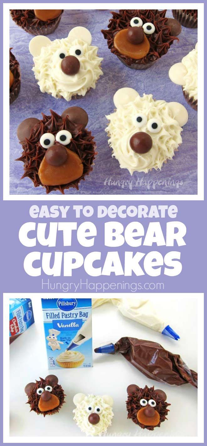 These cute bear cupcakes are so fun and can be made quickly using an easy cupcake decorating technique. #ad #DoughboySurprise