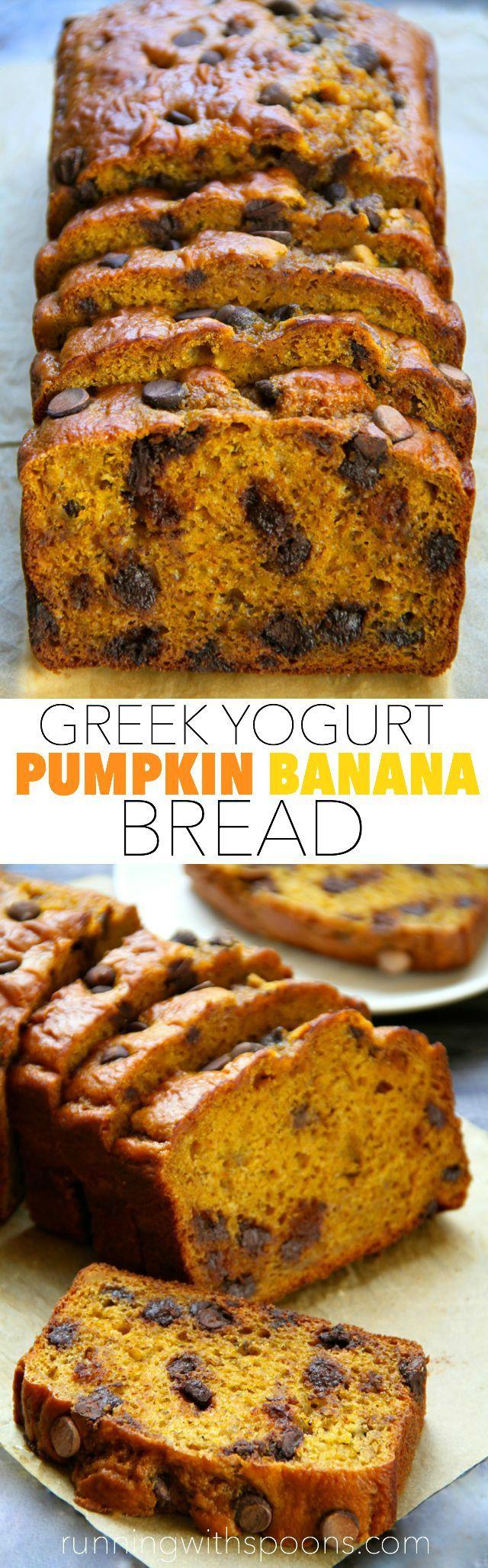 Greek Yogurt Pumpkin Banana Bread -- made without butter or oil, but so soft and tender that you'd never be able to tell! A healthy and delicious snack! || runningwithspoons.com #pumpkin #banana #fall