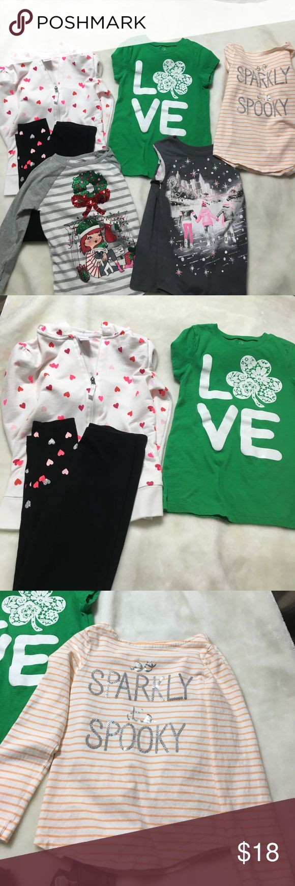Holiday clothing lot size 7/8 Heart Hoodie and heart leggings - Circo.  Halloween Top - Crazy 8.    Shamrock shirt - Children's Place.    Winter Scene Top -Justice.    Christmas Top - Children's Place Other