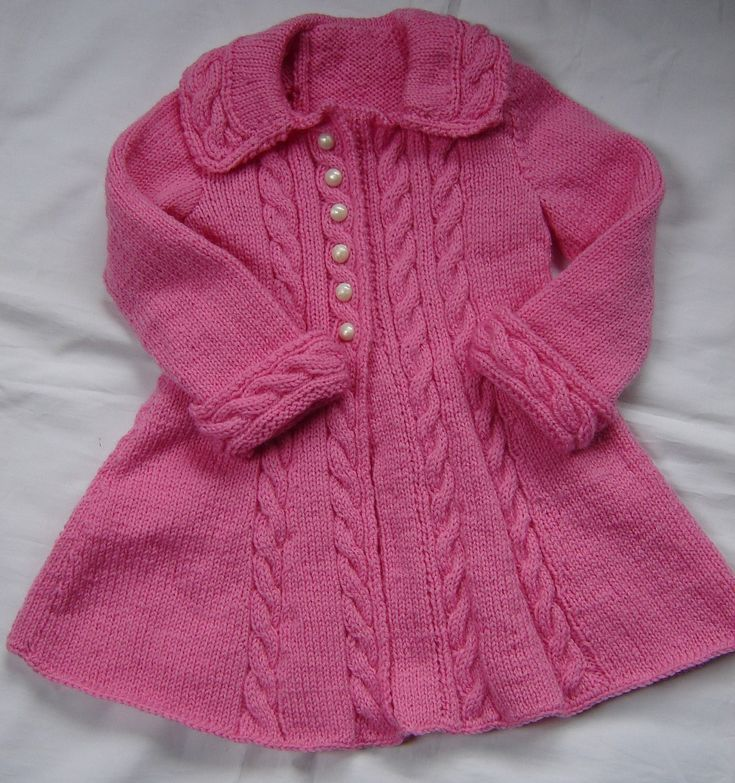 Baby Girls Toddler Sweater Coat Swing Style Hand Knit Crochet Size 12M - 18M ...