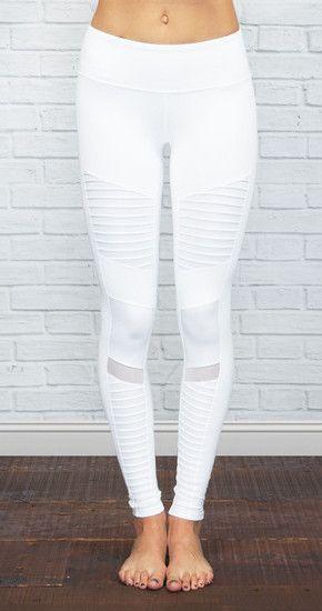 ALO YOGA | Athena Moto Legging in White/White Glossy @ www.shopblueeyedg... Leggings - http://amzn.to/2id971l