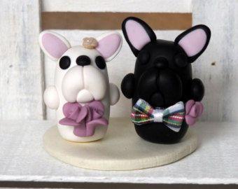 Bulldog francese bianco e nero: Wedding Cake di BlissfullyMini