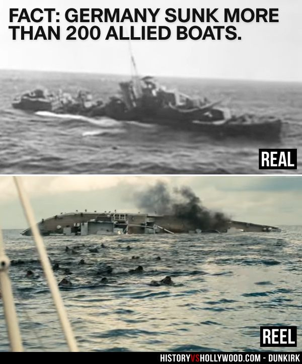 A British ship sinks at Dunkirk in real life and in the ...