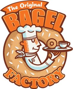 Another cool bagel logo. Also home of the Fragel! (Deep fried cinnamon raisin bagel)