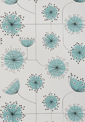 Dandelion Mobile Porcelain with Powder Blue Wallpaper - by missprint.co.uk - 60 British pounds/roll