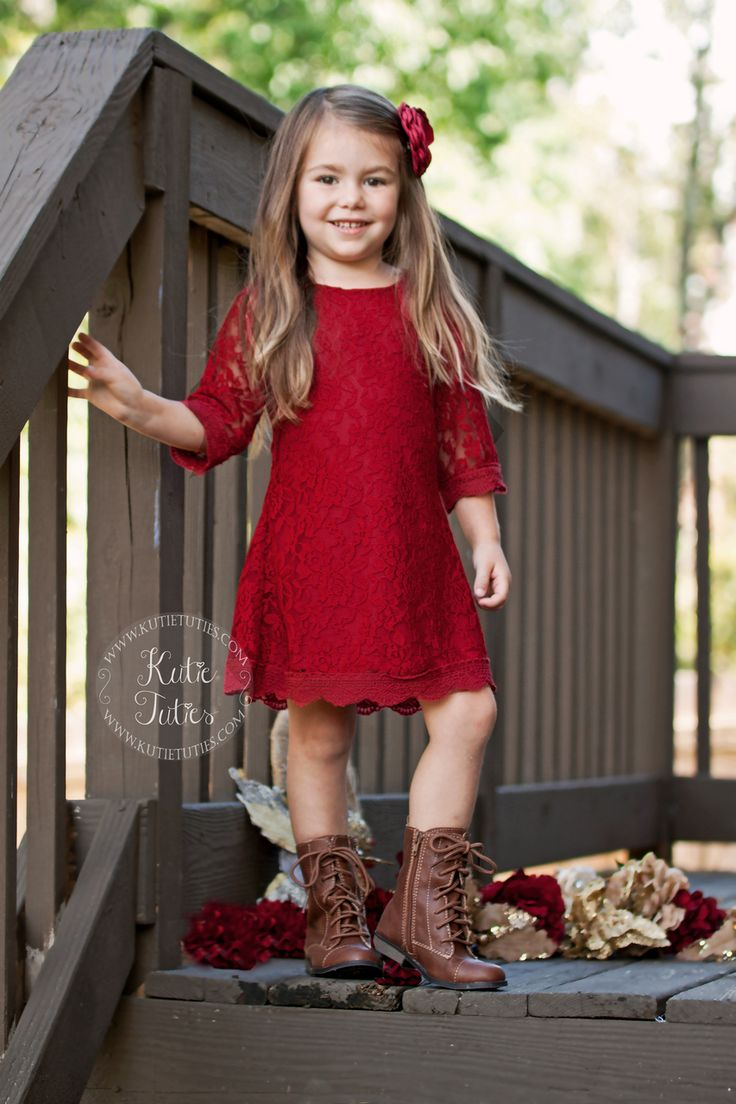 Kutie Tuties - Deep Red Lace Dress- Flower girl dress, wedding, rustic, vintage, ivory, white, toddler, girl, fall, Christmas, holiday