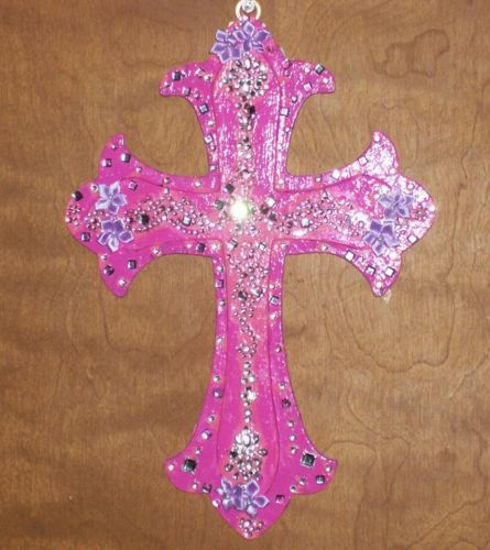 HANDMADE DECORATIVE WALL CROSS WITH SWAROVSKI CRYSTALS,RHINESTONES, FLORAL'S Available on http://www.ebay.com/itm/221311234346