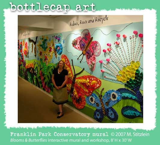 Plastic lids & Plastic Bottle Caps wall mural. This is probably the most amazing classroom decor we've seen yet! And eco-friendly!
