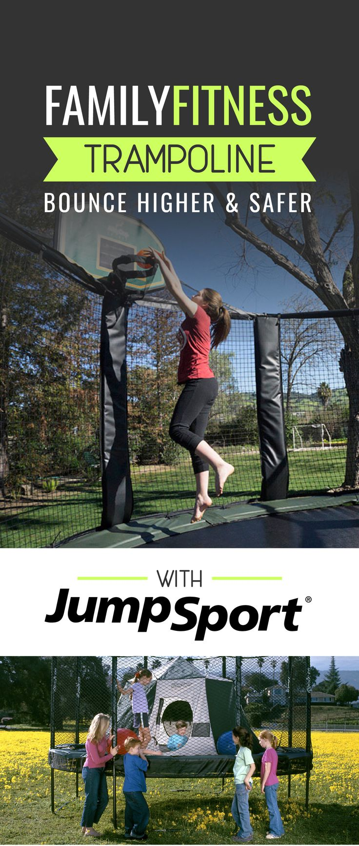 A backyard trampoline for the family is the perfect summer activity!  Visit: https://www.jumpsport.com/backyard/trampoline-sale  These trampolines are rated the world's safest with double bounce technology and incredible safety features. JumpSport Trampolines are the leading brand for quality and product innovation.  #jumpsport