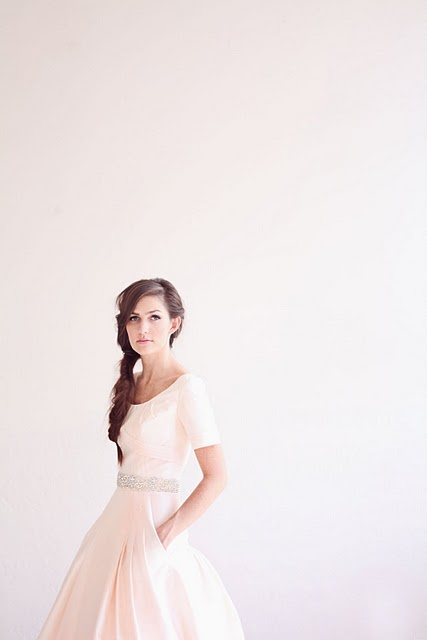 Blush-colored wedding dress with pockets! LOVE!