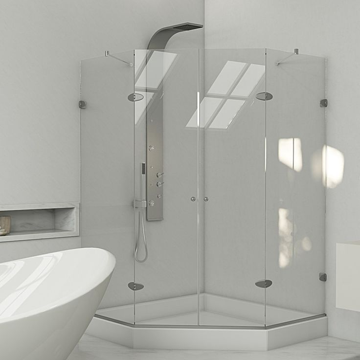 Gemini Frameless Neo-Angle .375-in. Shower Enclosure with Base