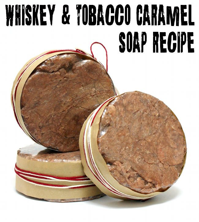 DIY Men's Homemade Tobacco Caramel and Whiskey Soap Recipe made using real whiskey!