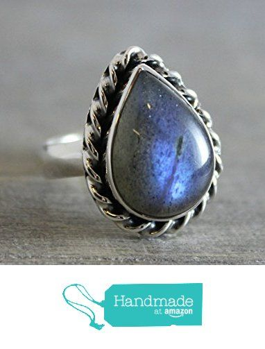 Pear Cabochon OOAK Labradorite Sterling Silver Ring, size 8 from Sophia Rose Jewellery https://www.amazon.com/dp/B01LXR1SP5/ref=hnd_sw_r_pi_dp_oJJ.xbTA5PGCY #handmadeatamazon
