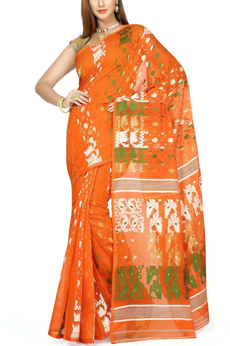 Giants Orange & Tri-color Dhakai Cotton Jamdani Saree