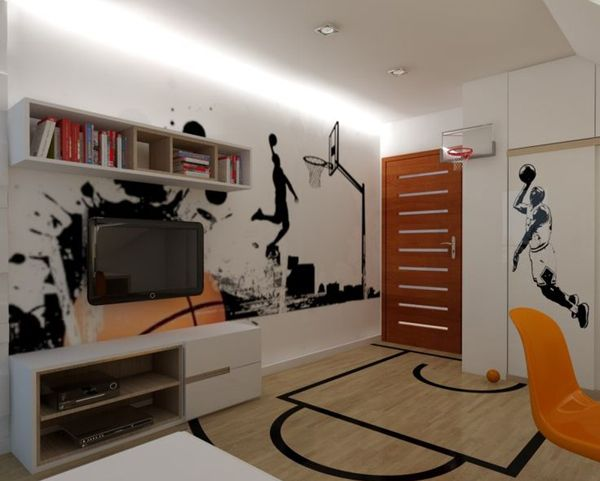 20 Sporty Bedroom Ideas With Basketball Theme Boys BedroomBasketball Room DecorBasketball