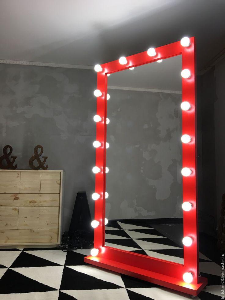 Купить Гримерное зеркало IMPERATOR. 190/100 - ярко-красный, красное зеркало, зеркало, зеркало напольное