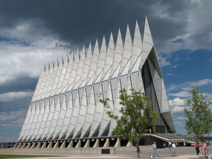 The United States Air Force Academy Cadet Chapel, completed in 1962. It was designed by renowned architect Walter Netsch of Skidmore, Owings and Merrill of Chicago. The Cadet Chapel has become a classic and highly regarded example of modernist architecture. [Wiki]