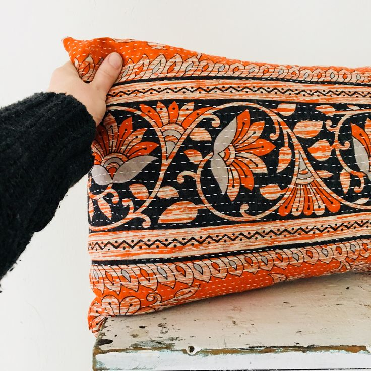 "Excited to share the latest addition to my #etsy shop: Boho Orange Floral  Pillow Cover 14""x24"" Lumbar Cushion Pillow Ethnic Upcyced Indian Sari Kantha Blanket Bohemian Orange Indigo Flowers"