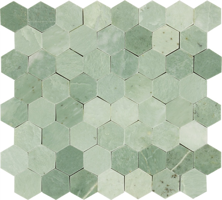Hexagon Mint Green Gold Specks Polished Marble Mosaic Tile
