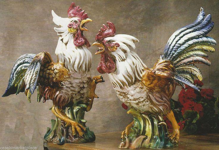 Intrada Italian Ceramic Fighting Rooster Pair Figurine