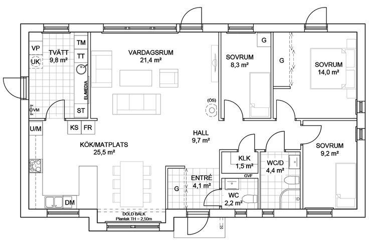 Ekeforshus Lupin - enplanshus med öppen planlösning - Anebyhusgruppen