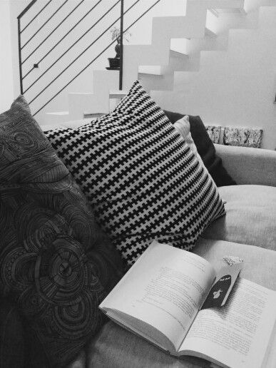 Reading a book on my couch
