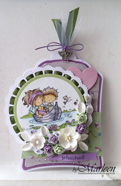 Handmade gift label by DT member Marleen with Craftables Label XL & Labels XS (CR1353), Heart Basic Shape (CR1351) and Ribbon Doily with Rosette (CR1350) from Marianne Design