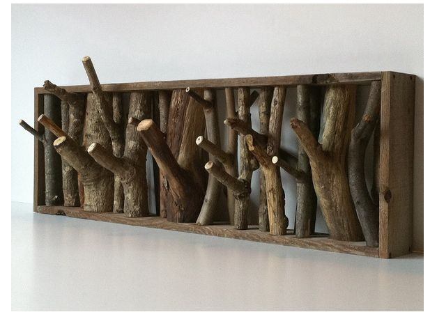 troncos decorativos: Coats Hooks, Cabin, Idea, Coats Racks, Wood, Trees Branches, Towels Racks, Hangers, Hats Racks