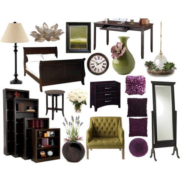 Purple Green Looking Perfect With Dark Wood Furniture Bedroom Dark Green Dark