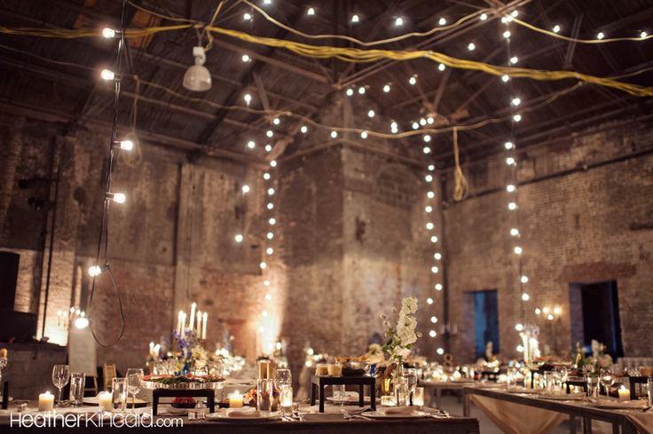 Warehouse wedding lighting.