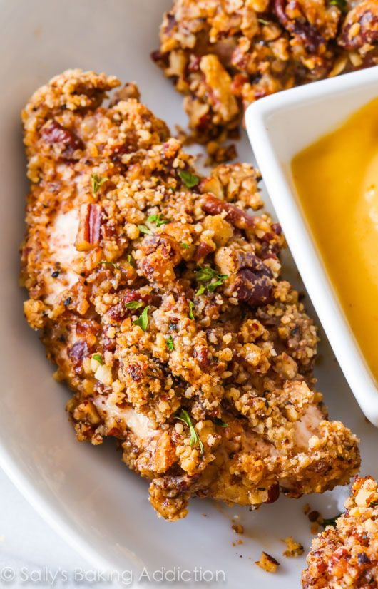 Baked Pecan Crusted Chicken Fingers - Faux-fried and full of toasty, nutty flavor. They're so simple and ready in a flash!
