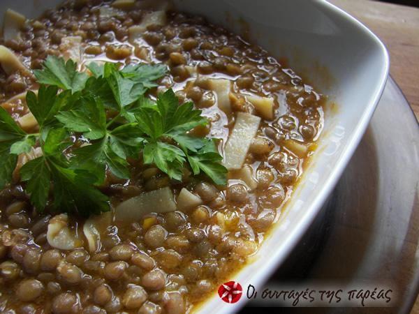 Lentils with hilopites #cooklikegreeks #lentilswithhilopites