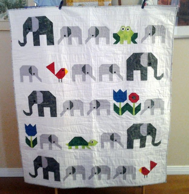 Sew Fresh Quilts: Let's Bee Social #109 (elephants, frog, toad, bird, cardinal, flowers, turtle, tortoise, applique, pieced)
