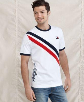 1454c3d5 $29.99 Tommy Hilfiger T Shirts, Short Sleeve Slim Fit Bristol Rugby Crew T  Shirt - Mens T-Shirts - Macy's   Men's Summer Fashion in 2019   Mens  sweatshirts, ...