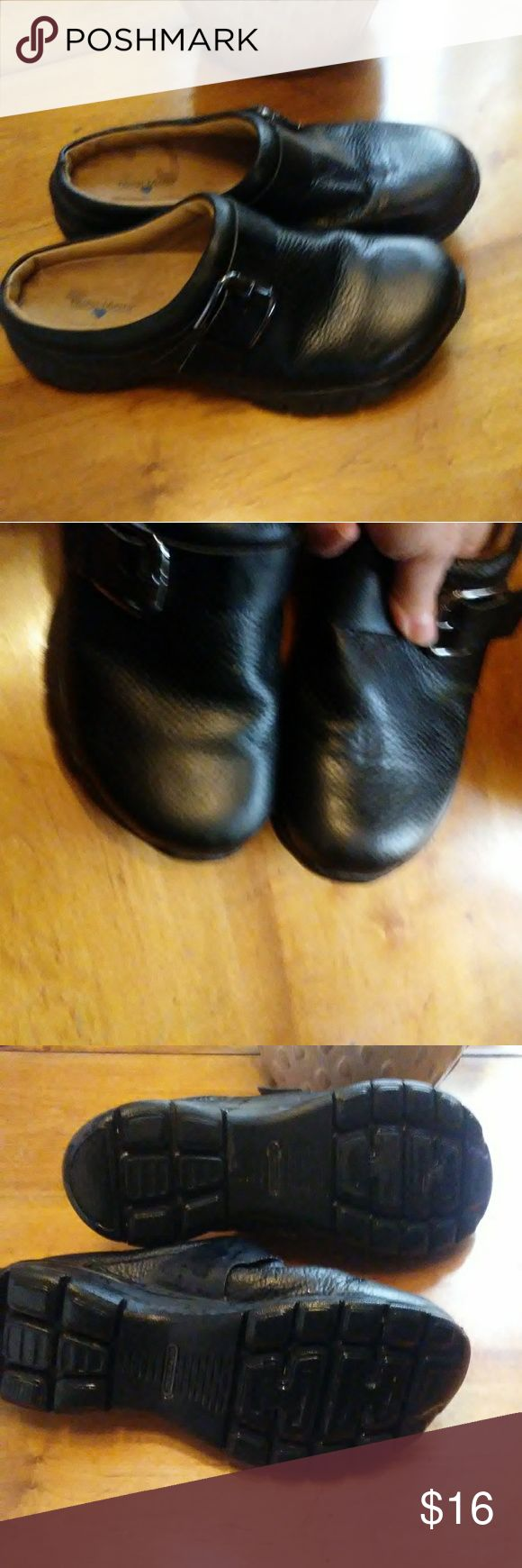Nurse Mates leather Slip on Shoes Really good condition. Genuine leather...slip.resistant bottoms. Pillow top insoles. Nurse Mates Shoes Flats & Loafers