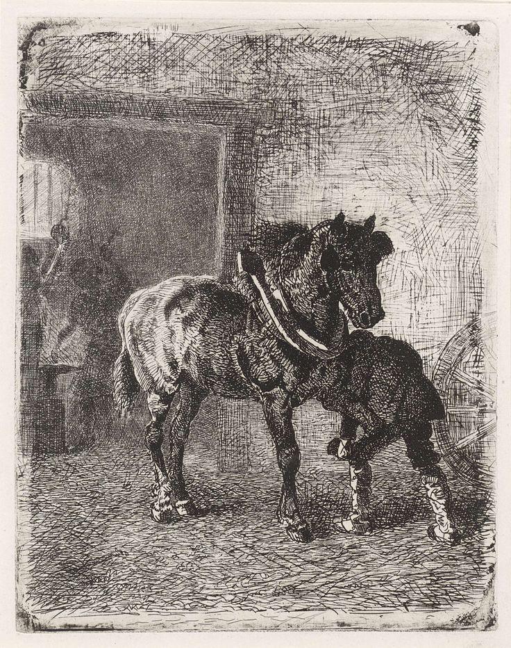 Cornelis Albertus Johannes Schermer | Paard krijgt hoefijzers in een smederij, Cornelis Albertus Johannes Schermer, 1839 - 1915 | Vooraan beslaat een man de hoef van een paard. Achter hem is een smid in een smederij aan het werk bij een aambeeld.