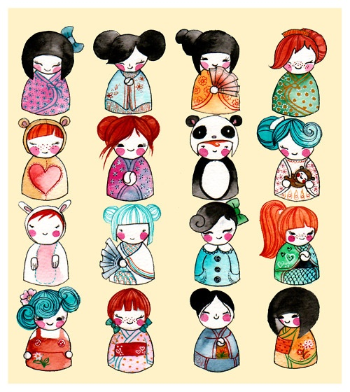 So maybe not Russian nesting dolls but Kokeshi dolls representing each member of the family instead...might be a half sleeve O.O