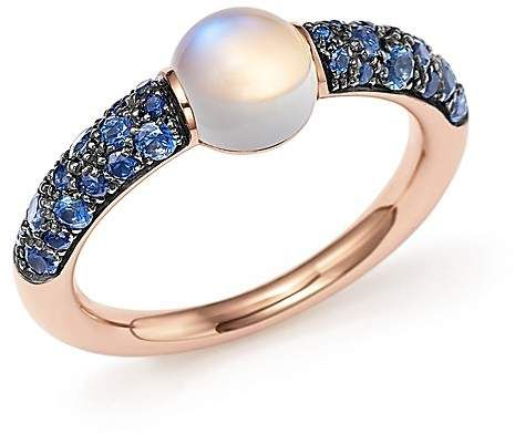 Pomellato M'ama Non M'ama Ring with Adularia and Blue Sapphire in 18K Rose Gold